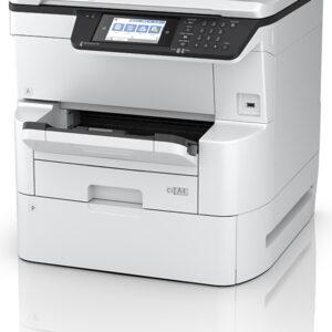 Small, multi-functional printer Epson WorkForce C878R on white background
