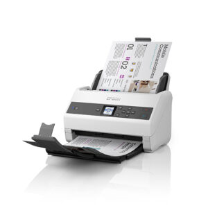A document sits in the feeder tray of an Epson WorkForce DS-970 document scanner with plain white background