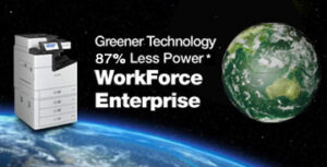 """Epson printer sits on top of the Earth in open space. Text reads """"Greener Technology 87% less power. WorkForce Enterprise""""."""