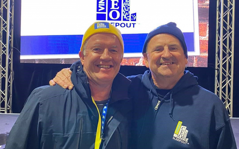 Alan Thompson and Colin Wheeler smiling at Vinnies CEO Sleepout Gold Coast 2021